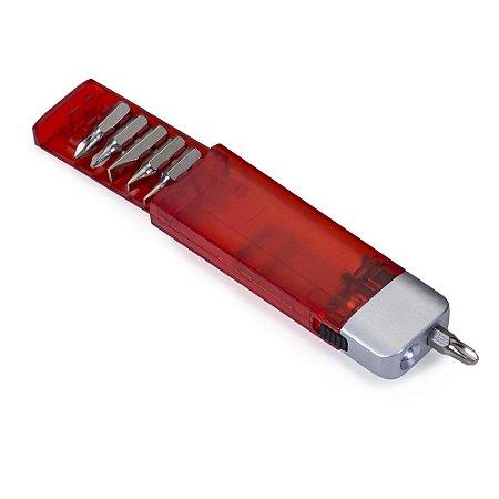 Kit ferramenta plástico com 6 peças e lanterna. Cód.SK8755