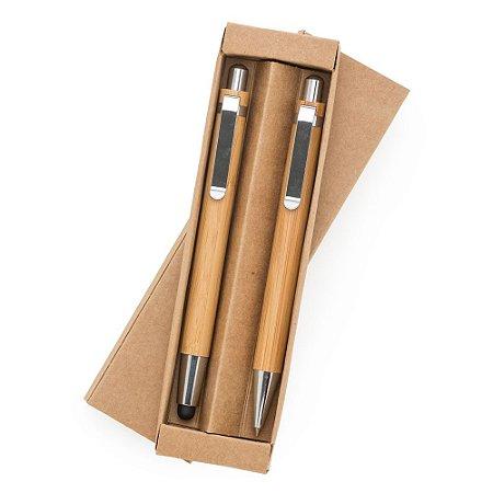 Kit Ecológico Caneta e Lapiseira Bambu. Cód. SK13796