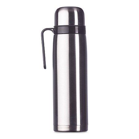 Garrafa térmica 1 litro em inox . Possui tampa rosqueável, bico plástico vermelho. SK02090