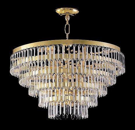 Lustre de cristal legitimo redondo 9 lampadas Dourado