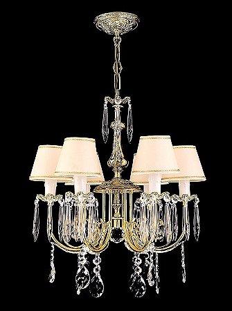 Lustre de cristal asfour legitimo 6 lampadas com cupula dourado