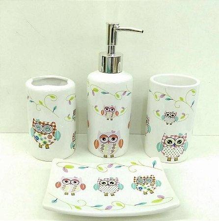 Jogo de Banheiro em ceramica - Coruja - com 4 pecas