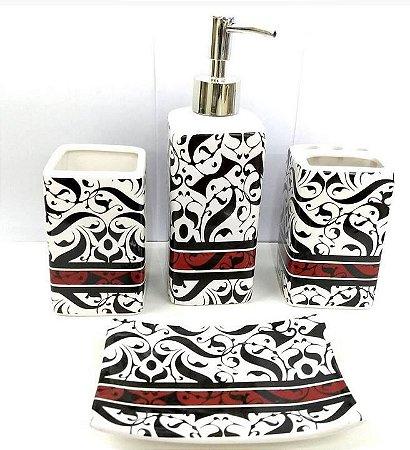 Jogo de Banheiro em ceramica - Tarja Vermelha - com 4 pecas