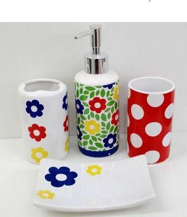 Jogo de Banheiro em ceramica - Margarida Colorida - com 4 pecas