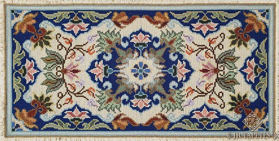 Par de Tapetes para quarto Arraiolo Sintra - Azul