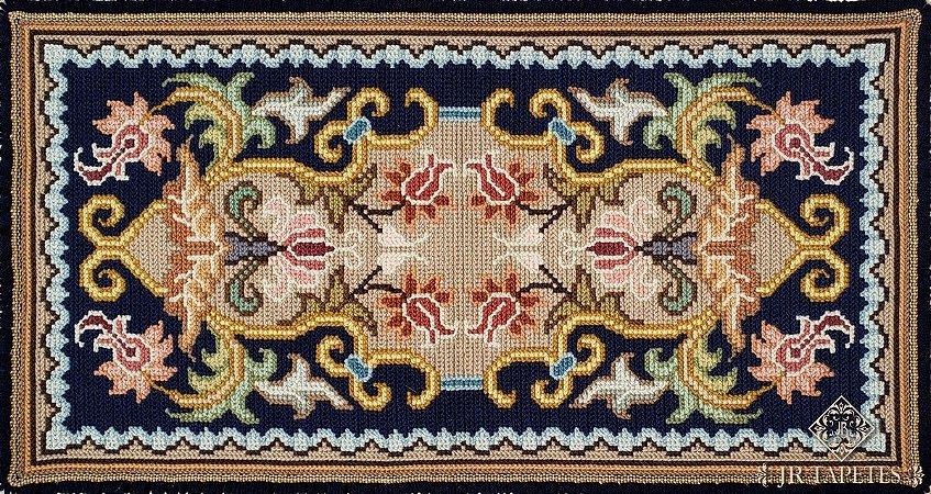Par de tapetes Arraiolo para quarto Porto -Azul
