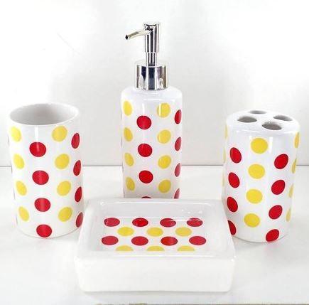 Jogo de Banheiro em ceramica - Bolinha - com 4 pecas