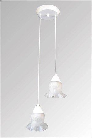 Pendente de ferro atenas branco com vidro caracol