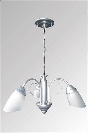 Lustre de aluminio escovado Italia com vidro liz 3 lampadas