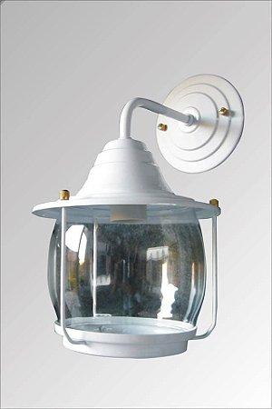 Arandela de aluminio Aladin grande branca com vidro cristal