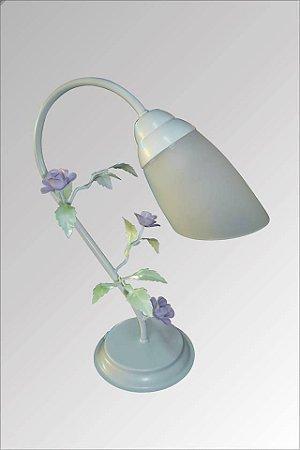 Abajur de ferro  branco com flores com vidro liz