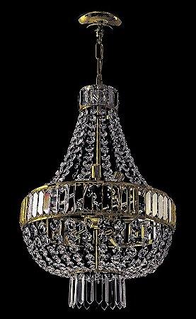 Lustre de cristal legitimo italiano 6 lampadas dourado