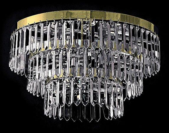 Plafon de cristal legitimo Asfour 5 lâmpadas Dourado
