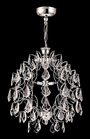 Lustre de Cristal Legitimo Asfour Strauss 4 lâmpadas Cromado