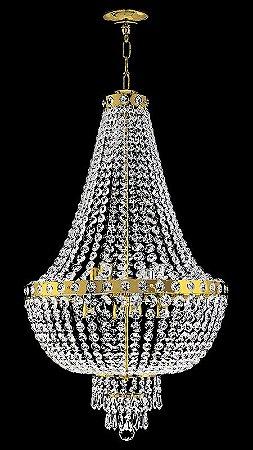 Lustre de cristal italiano legítimo Império 6 lâmpadas Aro Liso Dourado
