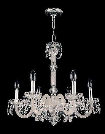 Lustre de Cristal Legitimo Asfour 6 lâmpadas Cromado