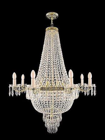 Lustre de Cristal legítimo Italiano Império Dourada 14 lâmpadas 8 braços