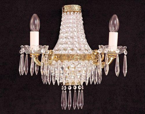 Arandela de Cristal Legitimo Italiano Império Dourada 3 lâmpadas 2 braços