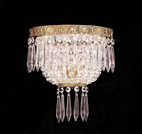 Arandela de Cristal Italiano Império 1 lâmpada Aro Duplo Dourada