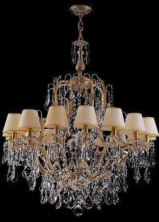 Lustre de Cristal Legitimo Asfour Dourado 16 lâmpadas com cúpula