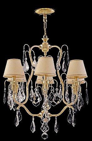 Lustre de cristal legitimo Asfour 6 lampadas com cúpula dourado
