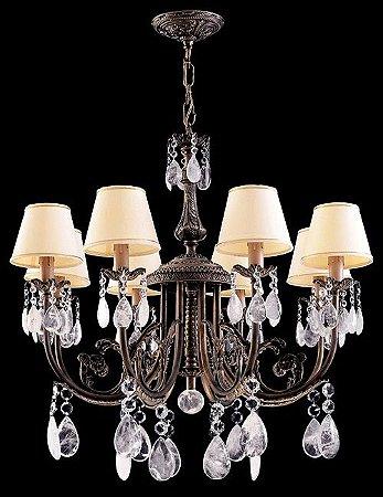 Lustre de cristal de rocha Assunçao 8 lâmpadas com cúpula