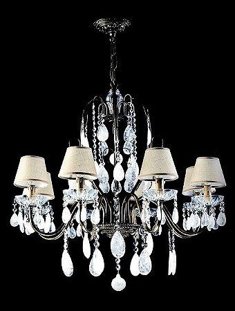 Lustre de Cristal de Rocha Sevilla 8 lâmpadas com cúpula