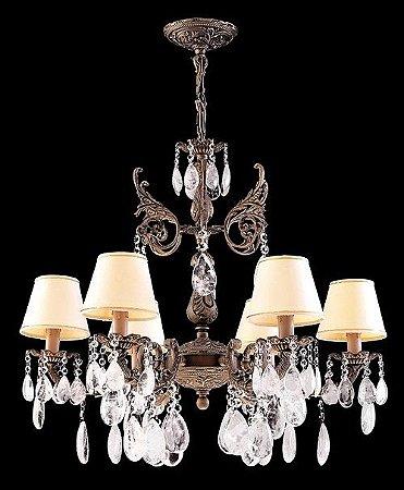 Lustre de cristal de rocha 6 lampadas Ouro Velho