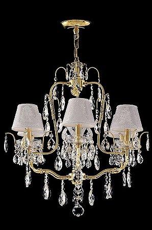 Lustre de Cristal legitimo Asfour 6 lâmpadas com cúpula Dourado