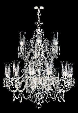 Lustre de Cristal legítimo asfour  Maria Teresa Lapidado 18 lâmpadas Cromado