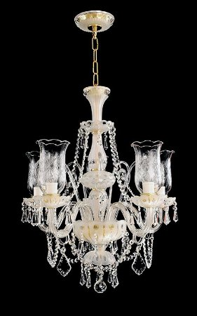 Lustre de Cristal legítimo asfour Maria Teresa Lapidado  5 lâmpadas Dourado