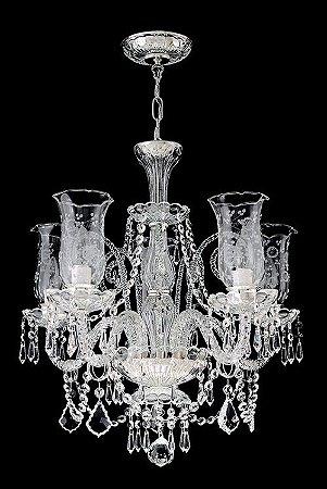 Lustre de Cristal legítimo asfour Maria Teresa 5 lâmpadas Cromado