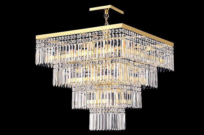 Lustre de cristal legitimo Asfour quadrado 4 saias 9 lampadas Dourado