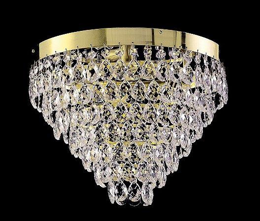 Plafon de cristal legitimo asfour 4 lampadas 7 saias Dourado