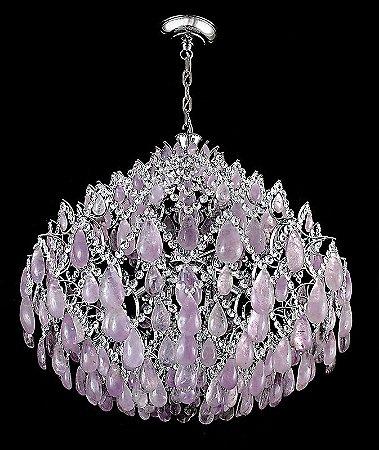 Lustre  de Cristal de Rocha Ametista Strauss 8 lampadas Ouro velho