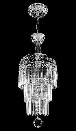 Pendente de cristal Legitimo asfour 1 lampada 3 saias Cromado