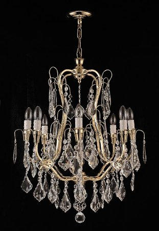 Lustre de Cristal Legitimo asfour 9 lampadas com amêndoas dourado