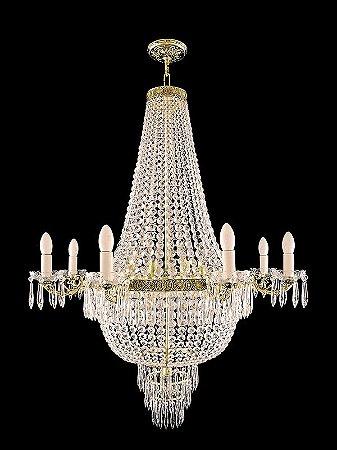 Lustre de Cristal Italiano Legitimo Imperio 6 lampadas aro duplo Dourado
