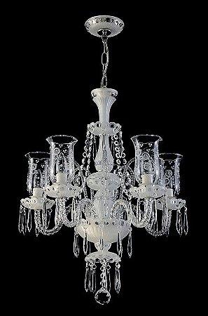 Lustre de Cristal legítimo asfour Maria Teresa 5 lampadas cromado