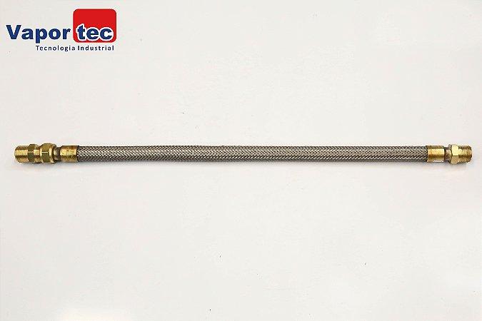 "Flexível Latão/Inox 1/2"" x 500 mm MFxFG C/ NIPLE"