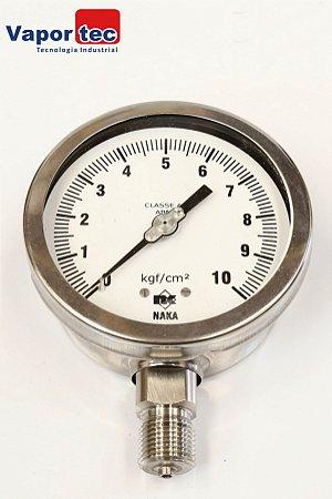 "Manômetro Reto Inox 4"" 0 a 10 kgf/cm² 1/2"""