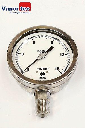 "Manômetro Reto Inox 4"" 0 a 15 kgf/cm² 1/2"""