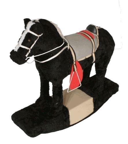 Cavalinho de Madeira - Balanço cor Preto