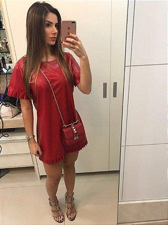 Vestido Couro Vermelho