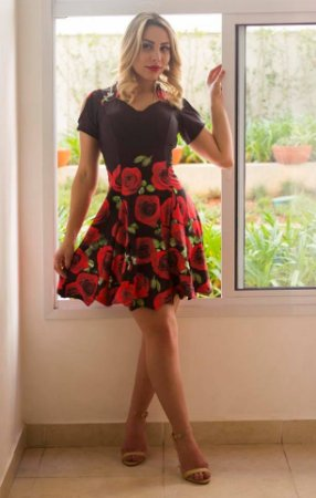 Vestido Boneca Ombro Aberto  - Rodado