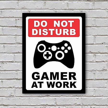 Placa de Parede Decorativa: Gamer at Work Xbox - ShopB