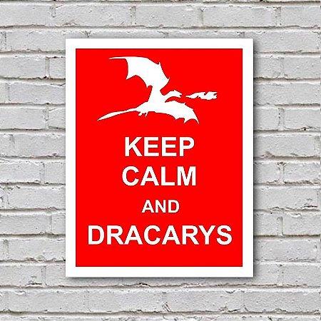 Placa de Parede Decorativa: Keep Calm and Dracarys