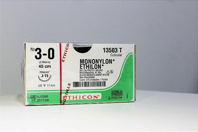Fio de Sutura de Mononylon ETHILON 3-0 - 24 unidades - Johson & Johson