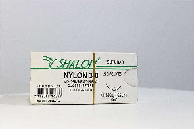 FIO DE SUTURA MONOFILAMENTO PRETO NYLON 3.0 CX C/24 45 CM SHALON