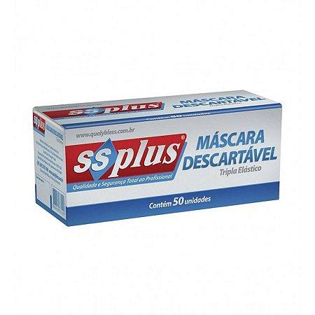 MASCARA DESC TRIPLA ELASTICO BRANCA 50UN SSPLUS
